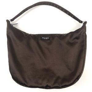 """Kate Spade Satin Shoulder Bag Brown 10"""" Drop EUC"""